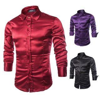 Image of Long-Sleeve Satin Shirt