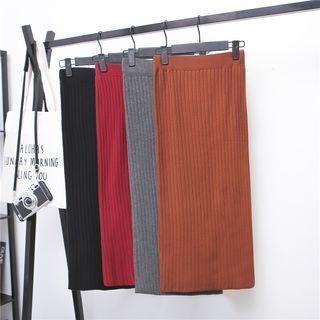 Rib Knit Midi Skirt 1063900924