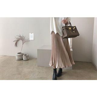 Band-Waist Pleated Long Skirt 1064279055
