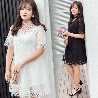 Set: Short-Sleeve A-Line Lace Dress + Strappy Dress 1060517862