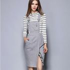 Set: Striped Long-Sleeve T-Shirt + Slit Pinafore Dress 1596
