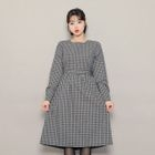 Tie-Waist Checked Long Dress 1596