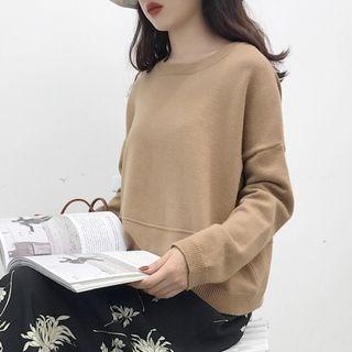Long-Sleeve Drop-Shoulder Knit Top 1062237892