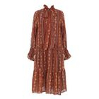 Patterned Long-Sleeve Chiffon Dress 1596