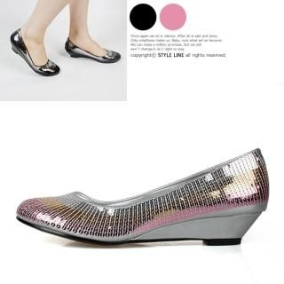 Buy STYLE LINE Sequined Wedge Pumps 1022432531
