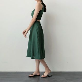 Cutout-Back A-Line Midi Dress 1060612781
