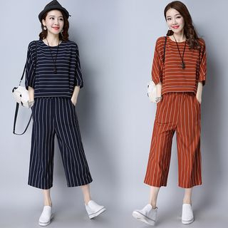 Set: 3/4-Sleeve Striped Top + Cropped Wide Leg Pants 1061189622