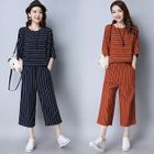 Set: 3/4-Sleeve Striped Top + Cropped Wide Leg Pants 1596