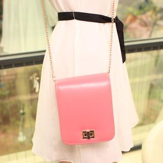 Twist-Lock Chain-Strap Crossbody Bag