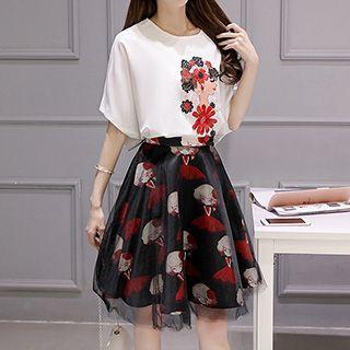 set-floral-print-short-sleeve-top-skirt