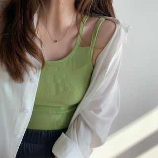 Image of Double Strap Ribbed Camisole Top