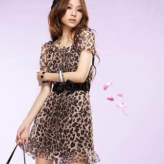Buy Tokyo Fashion Leopard Printed Chiffon Dress 1022484331