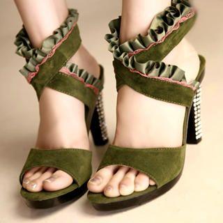 Buy Kvoll Genuine Suede Rhinestone Frill-Trim Sandals 1022654113