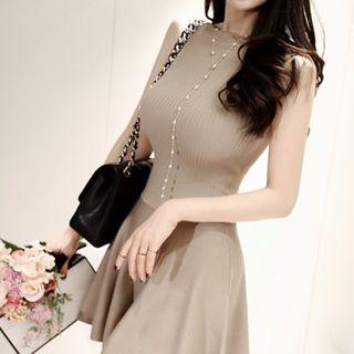 Sleeveless Ribbed A-Line Mini Dress 1059529357