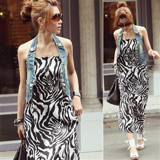Picture of PUFFY Zebra Print Maxi Dress 1022656016 (PUFFY Dresses, Womens Dresses, Taiwan Dresses)