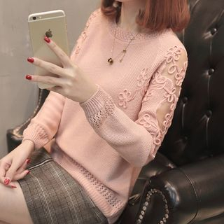 Image For Lace Panel Long-Sleeve Knit Top