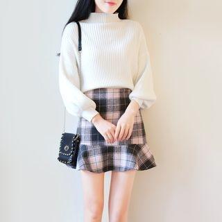 Set: Mock Neck Ribbed Sweater + Plaid A-Line Skirt 1057288359
