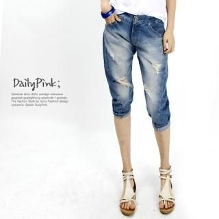 Buy Daily Pink Distressed Cropped Jeans 1022860799
