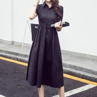 Plain Midi Short Sleeve Shirtdress 1060431609