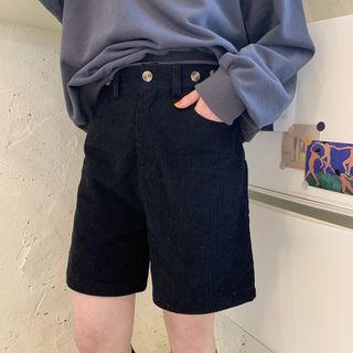 Image of Straight-Cut Corduroy Shorts