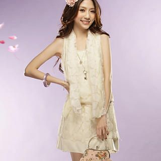 Buy Tokyo Fashion Sleeveless Lace Dress with Scarf 1022412014