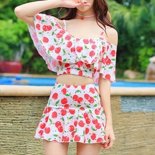 Set: Cherry Print Tankini + Swimskirt 1048833665