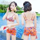 Set: Printed Bikini Top + Swimshorts + Cover-Up 1596
