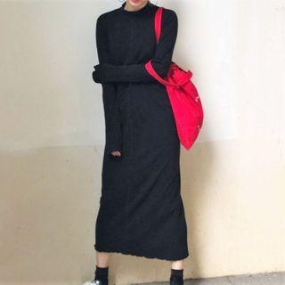 Long-sleeve Mock-neck Midi A-line Dress Black - One Size