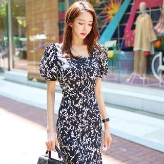 Image of Floral Print Puff-Sleeve Sheath Maxi Dress