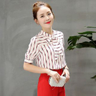 Short-Sleeve Bow-Accent Striped Blouse 1596