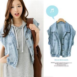 lovemark Short Sleeve Denim Jacket 1022564627 | Womens Asian Apparel
