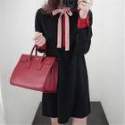 Long-Sleeve Bow Neck A-Line Dress 1596