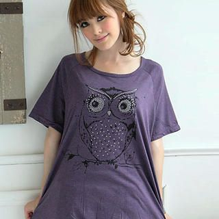 "Buy eFashion Short-Sleeve Loose-Fit ""Owl"" T-Shirt 1022977290"