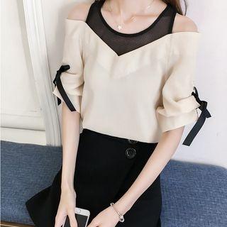 Short-Sleeve Chiffon V-Neck Ribbon Top 1062641040