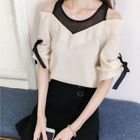 Short-Sleeve Chiffon V-Neck Ribbon Top 1596