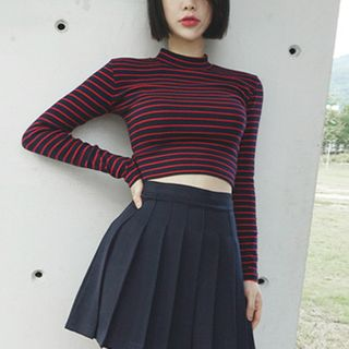 Long-sleeve   Turtleneck   Stripe   Dark   Blue   Size   Red   One   Top