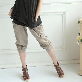 Buy eFashion Elasticized Cropped Pants with Lace Sash 1022977721