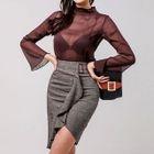 Set: Sheer Top + Ruffled Pencil Skirt 1596