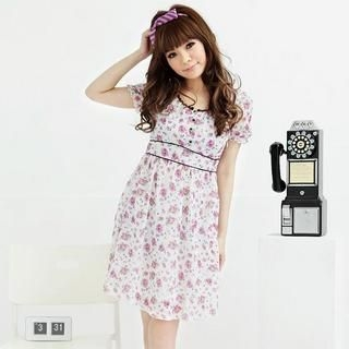 Buy MARLOCA Short-Sleeve Piping Floral Chiffon Dress 1022931485