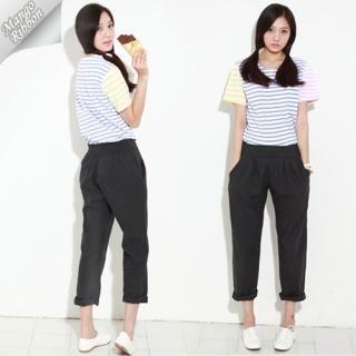 Buy Mango Ribbon Pleated Linen Baggy Pants 1022946174