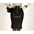 Faux-Leather Panel Midi Skirt 1596