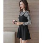 Set: Striped Long-Sleeve T-Shirt + Strappy A-Line Dress 1596