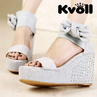 Buy Kvoll Studded Wrap Ankle Denim Wedges 1022987140