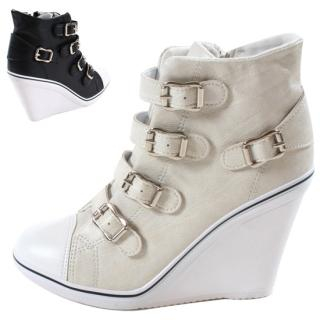Buy Blingstyle Shoes Buckled Platform High-Top Sneakers 1022827424