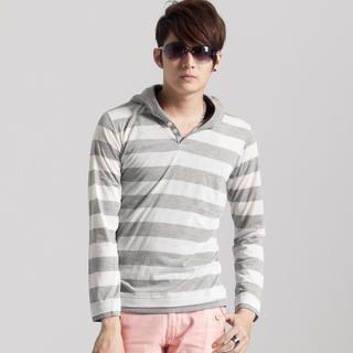 Women's Striped Hooded Top