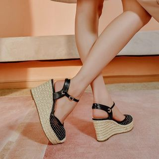 Image of Ankle Strap Espadrille Wedge-Heel Sandals