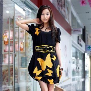 Buy MARLOCA Butterfly Pattern Pleated Sleeve Dress with Belt 1022443121