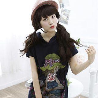 Buy Dodostyle Hooded Print Dress 1022825622