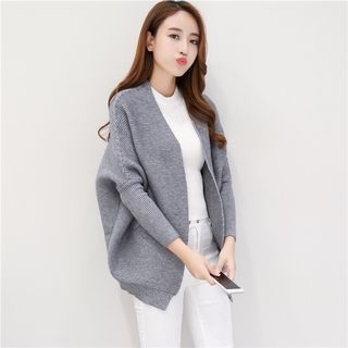 Ribbed Open Front Long Cardigan 1053025073