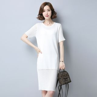 Ribbed Short-Sleeve Knit Dress 1060752163